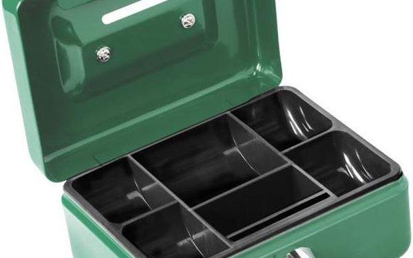 Extol Craft (99008) schránka na peníze přenosná s otvorem pro mince, 125×95×60mm, 2 klíče, plastový pořadač na mince