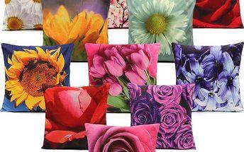 Pestrobarevné povlaky s motivem květin