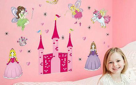 Samolepka na zeď - víly na hradě