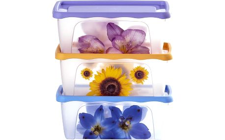 3dílná sada dóz s dekorem květin