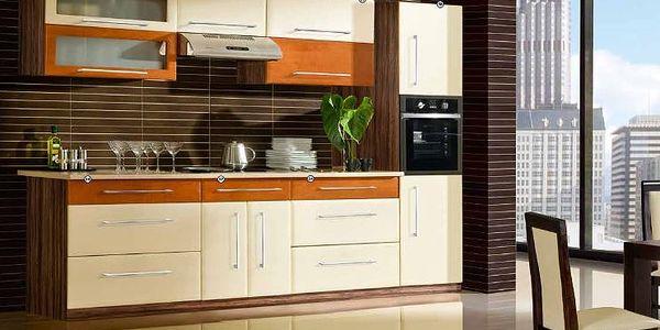 Kuchyňská linka RELY 120cm=spodní 80cm dřezová,spodní 40 cm 3x zásuvka,horní 80cm plná dvířka,horní 40cm prosklená,pracovní deska120cm. LTD lamino