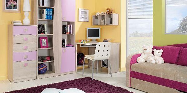 Dětský pokoj PEGAS 13 dub santana/ fialová