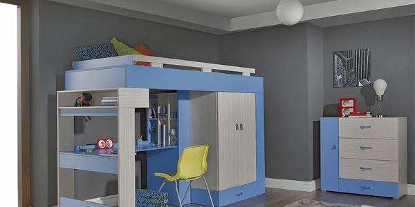 Dětský pokoj FANTAZY D-bez matrace jasan/ modrá