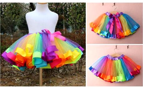 Barevná dívčí tutu sukně Rainbow