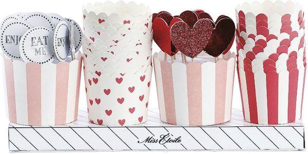 Dárkové balení košíčků a ozdob na muffiny, červená