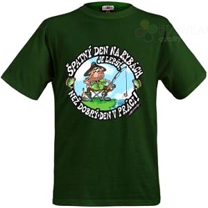 Tričko - Špatný den na rybách - zelené - XXXL