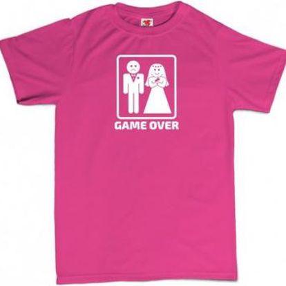 Tričko - GAME OVER - růžové - XL