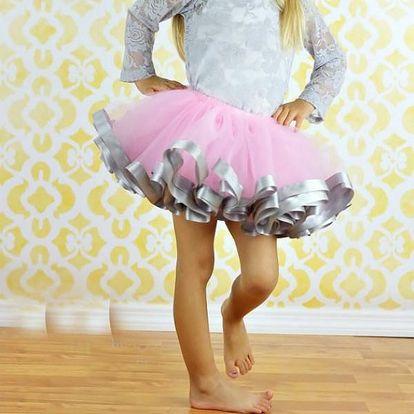 Dívčí růžová tutu sukně Princess