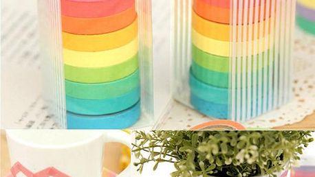 10 rolí barevných lepicích pásek z papíru - dodání do 2 dnů