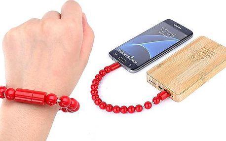 Korálkový náramek s micro USB pro připojení telefonu k notebooku v několika barvách