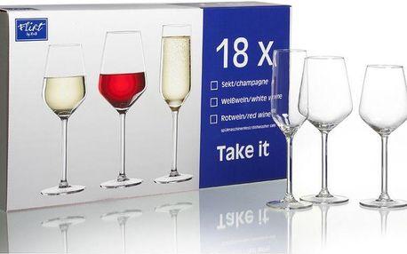 Ritzenhoff&Breker Sklenice na sekt, červené a bílé víno Take It 18 ks