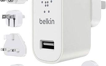 Belkin USB 230V nabíječka MIXIT Metallic 1x2.4A TRAVEL KIT, bílá - F8M967btWHT