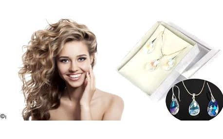 Luxusní sada s krystaly Swarovski Elements v dárkové krabičce. Půvabná sada z broušených kapek. Obdarujte stylově sebe nebo své blízké.