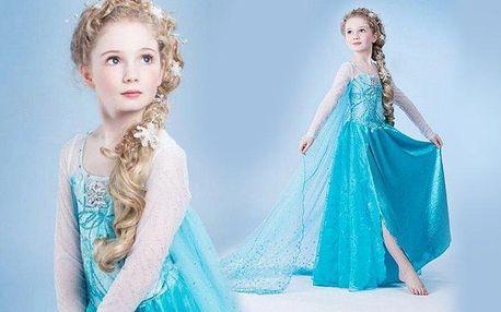 Holčičí šaty na maškarní bál podle šatů princezny Elsy z pohádky Ledové království