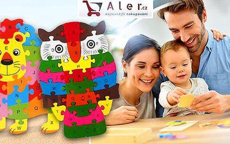 Barevné dřevěné puzzle pro děti na procvičení logiky a představivosti. Výběr z více tvarů.
