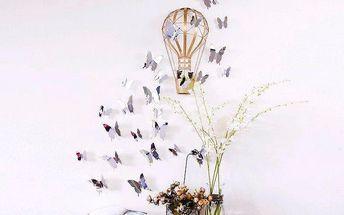 Sada 12 3D samolepek Ambiance Mirror Butterflies