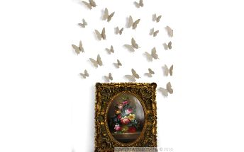 Sada 12 3D samolepek Ambiance Light Brown Butterflies