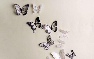 Sada 18 adhezivních 3D samolepek Ambiance Butterflies Chic Black and White