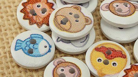 100 kusů dřevěných knoflíků s motivy zvířátek