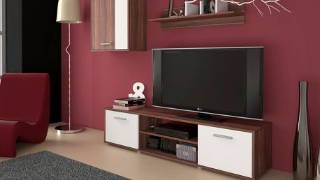 Obývací stěna Zuzana 1, švestka/bílá