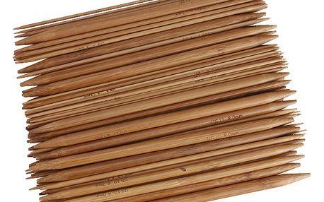 Oboustranné bambusové pletací jehlice - sada 75 jehlic 15 velikostí