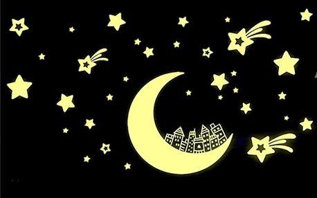 Svítící samolepka - Měsíc s hvězdami