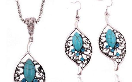 Sada lístečkových šperků v tyrkysové barvě