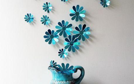 Sada 12 adhezivních 3D samolepek Ambiance Flowers Chic Blue