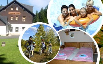 Pobyt v penzionu Panský dům na Kvildě pro 2 osoby s polopenzí, vstup do bazénu a sauny.