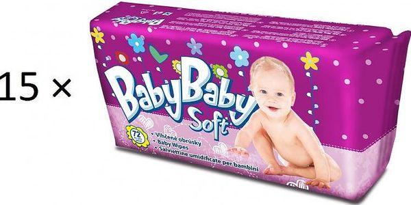 BabyBaby Soft Dětské vlhčené ubrousky 15 × 72 ks