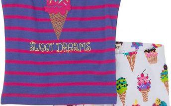Hatley Dívčí letní pyžamo se zmrzlinami - barevné, 7 let