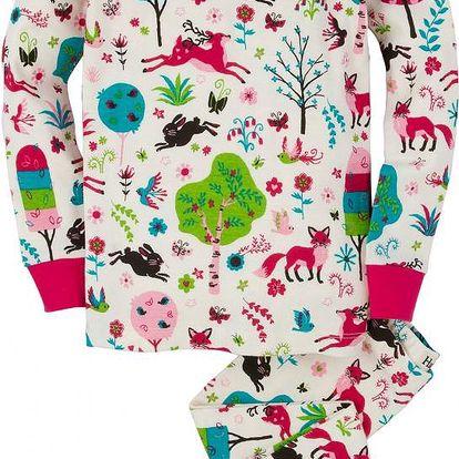 Hatley Dívčí pyžamo s lesními zvířátky - bílé, 6 let