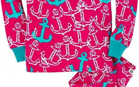 Hatley Dívčí pyžamo s kotvami - růžové, 8 let