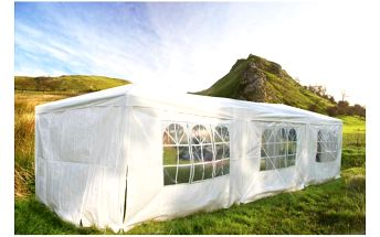 Zahradní párty stan 3x9 metrů, pevné bočnice a střecha, kovová konstrukce