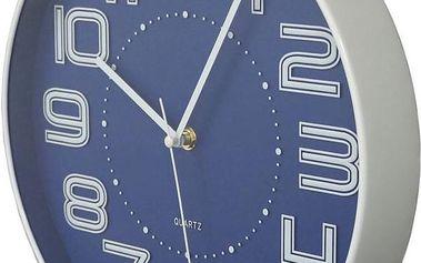Nástěnné hodiny s reiléfem čísla COLOR 30,5 cm - MODRÁ