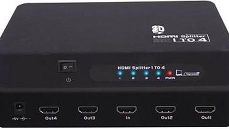 PremiumCord Externí HDMI Splitter, 4x port HDMI 1.4a černý