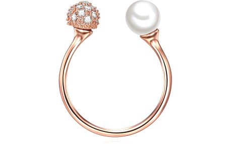 Perlový prsten Perle, rosegold s bílou perlou, vel. 54