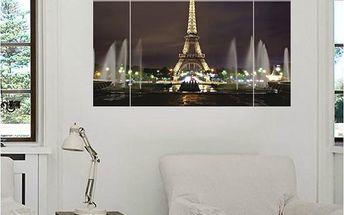 3D samolepka na zeď - Rozsvícená Eiffelova věž - dodání do 2 dnů