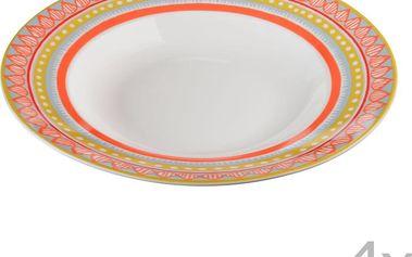 Sada 4 porcelánových talířů na polévku Oilily 24,5 cm, oranžová