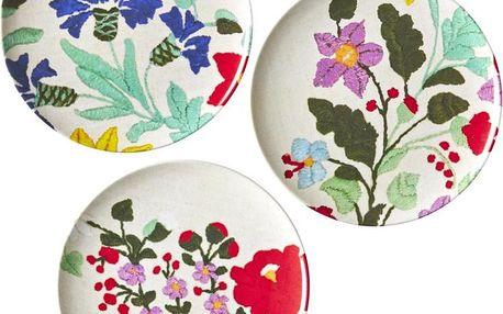Sada 3 dezertních talířů Flowers