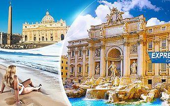Itálie, Řím na 5 dní pro 1 osobu s koupáním v moři, včetně dopravy a 2 nocí se snídaní