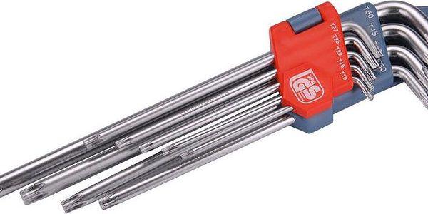 Extol Premium (8819412) L-klíče TORX prodloužené, sada 9ks, T 10-15-20-25-27-30-40-45-50, vrtané na kratší straně, CrV
