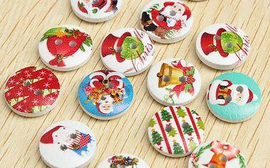 Vánoční knoflíky v různých motivech - 100 kusů