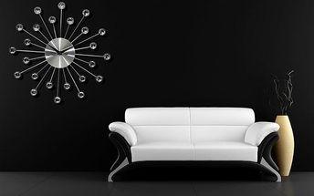 3D nalepovací hodiny Cristal stříbrné 50 cm