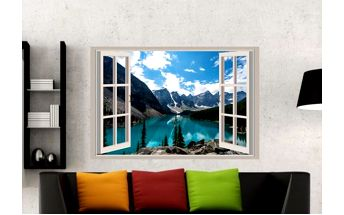 Samolepka na zeď - Výhled na horské jezero