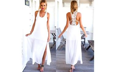 Bílé maxi šaty s krajkou - S-XL