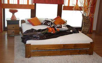 Postel s matrací a roštem EURO 140 x 200 cm - dub - lak