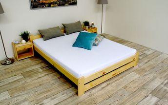 Postel s matrací a roštem EURO 120 x 200 cm - Přírodní lak