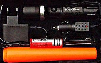 Policejní svítilna s dobíjecí baterií, zoomem a nástavcem