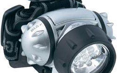 Stříbrná LED čelovka - 7 LED